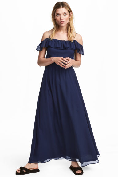 Long chiffon dress - Dark blue -  | H&M 1