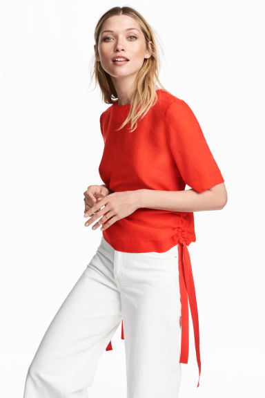 Blouse with drawstrings - Red - Ladies | H&M 1