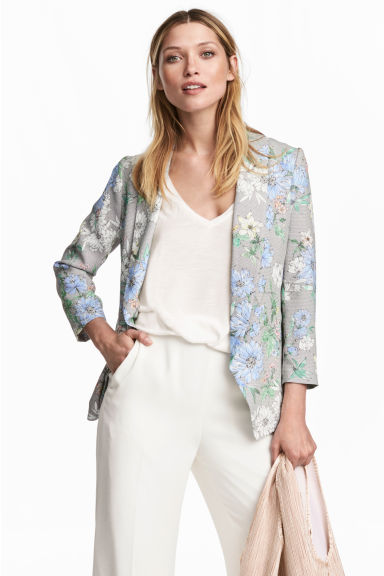 Shawl-collar jacket - White/Floral - Ladies | H&M 1