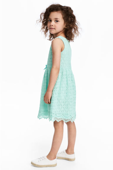 Sleeveless lace dress - Mint green - Kids | H&M CN