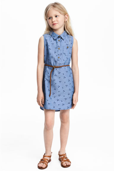 Sleeveless shirt dress - Blue/Cherry -  | H&M 1