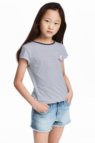 Printed jersey top - White/Dark blue/Striped - Kids | H&M CN