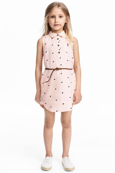 Sleeveless shirt dress - Light pink/Heart - Kids | H&M