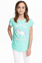 Printed jersey top - Mint green/Unicorn - Kids | H&M CN 1