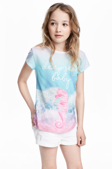 Printed jersey top - Light turquoise/Sea horse - Kids | H&M CN 1