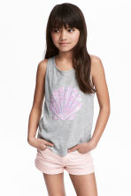 Top with a motif - Grey marl -  | H&M 1
