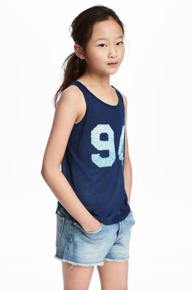 Top with a motif - Dark blue - Kids | H&M CN 1