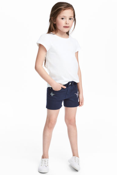 Denim shorts - Dark blue/Butterflies - Kids | H&M