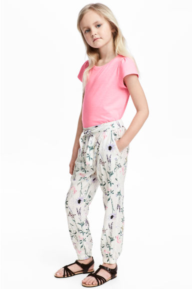 Patterned pull-on trousers - White/Patterned - Kids | H&M 1