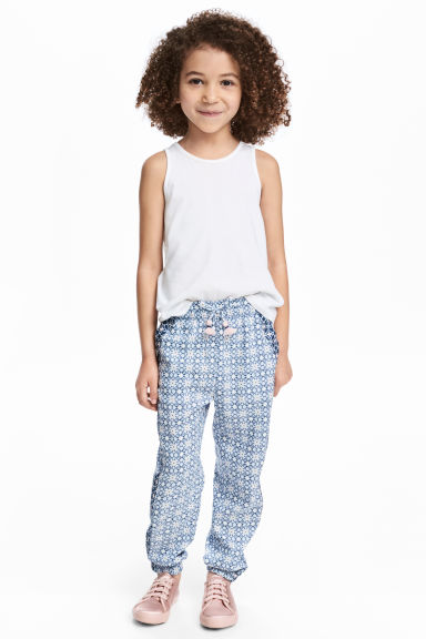 Patterned pull-on trousers - Light blue/Patterned - Kids | H&M 1