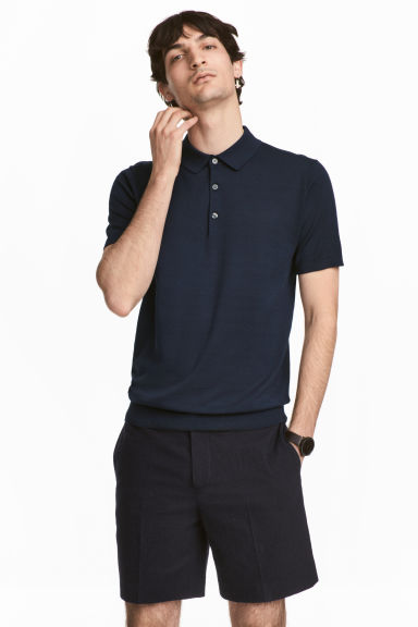 Silk-blend polo shirt - Dark blue - Men | H&M