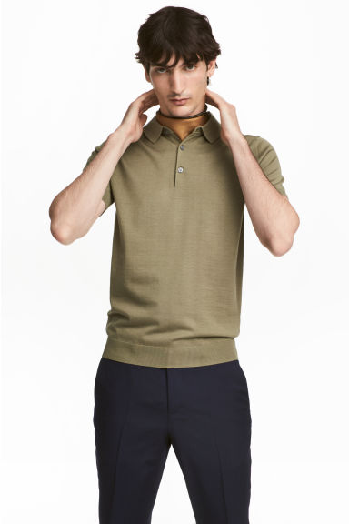 Silk-blend polo shirt - Khaki green - Men | H&M CN 1