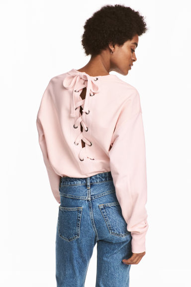 Laced-back sweatshirt - Light pink -  | H&M CA 1