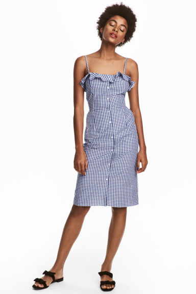 Sleeveless dress - Blue/White/Checked - Ladies | H&M CN 1