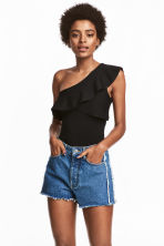 Frayed-hem denim shorts - Denim blue - Ladies | H&M CN 1