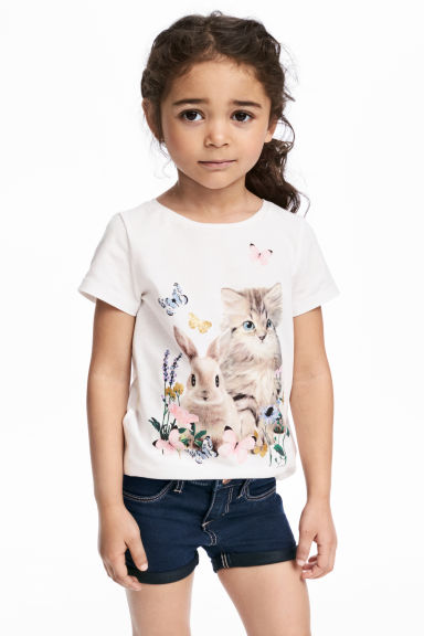 Printed jersey top - White/Animal - Kids | H&M 1