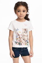 圖案平紋上衣 - White/Animal - Kids | H&M 1