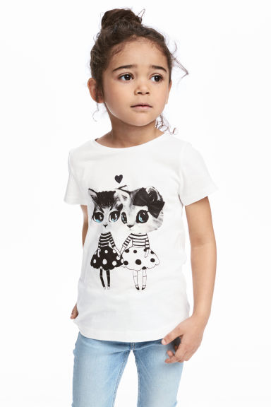 Printed jersey top - White/Cats - Kids | H&M 1