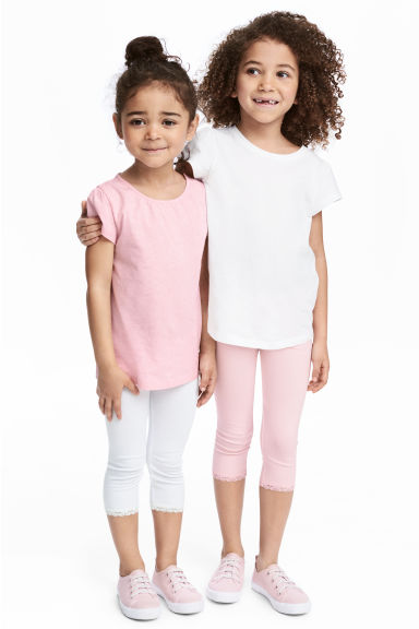 2-pack 3/4-length leggings - Light pink - Kids | H&M 1