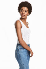 Top with broderie anglaise - White -  | H&M CN 1