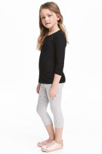 3/4-length leggings - Grey/Glitter - Kids | H&M 1