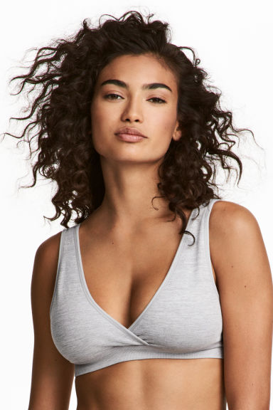 MAMA 2-pack sleep nursing bras - Grey marl/Black - Ladies | H&M CA 1