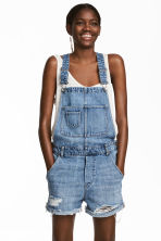 Denim dungaree shorts - Denim blue - Ladies | H&M CN 1