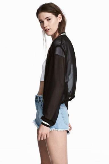 Chiffon bomber jacket - Black - Ladies | H&M 1