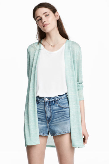 Fine-knit cardigan - Mint green - Ladies | H&M CN 1
