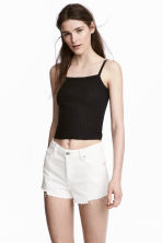 Ribbed strappy top - Black - Ladies | H&M 1