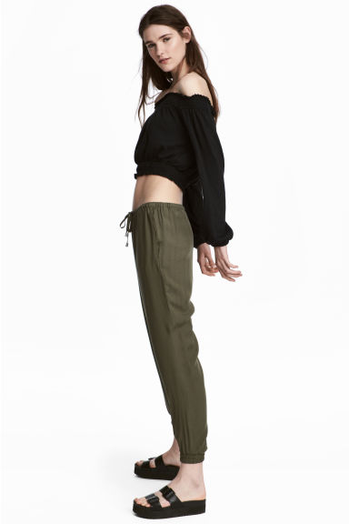 Pull-on trousers - Khaki green - Ladies | H&M CN