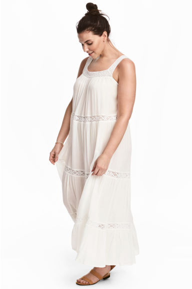 H&M+ Dress with lace - White - Ladies | H&M CN 1
