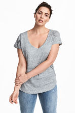 H&M+ V-neck linen top - Grey marl - Ladies | H&M 1