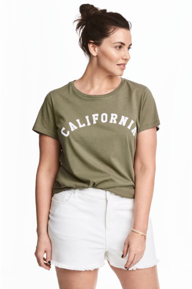 H&M+ Printed jersey top - Khaki green - Ladies | H&M 1