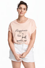 H&M+ Printed T-shirt - Powder pink -  | H&M 1