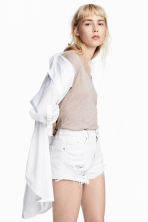 Denim shorts Skinny Regular - White denim - Ladies | H&M 1