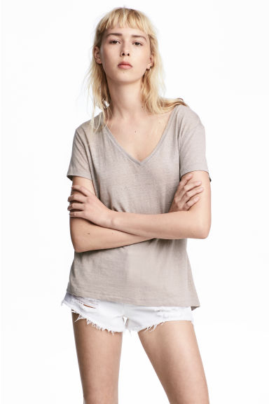 V-neck jersey top - Grey beige - Ladies | H&M 1