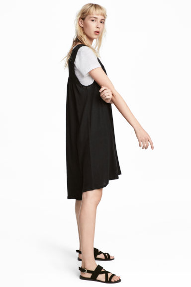 Sleeveless linen-blend dress - Black - Ladies | H&M 1