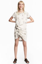 Jersey drawstring dress - Light beige/Pattern - Ladies | H&M CN 1