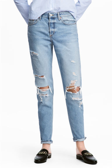 Boyfriend Low Ripped Jeans - 浅牛仔蓝/破洞 - 女士 | H&M CN 1