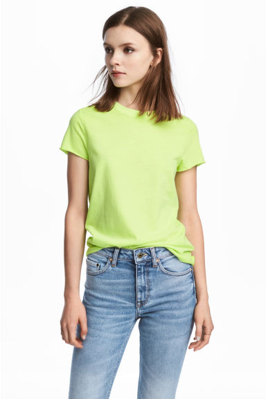 Cotton T-shirt - Lime green - Ladies | H&M CN