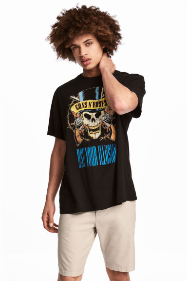 Printed T-shirt - Black/Guns N' Roses - Men | H&M CN 1