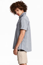 Short-sleeve shirt Regular fit - Dark blue marl - Men | H&M 1