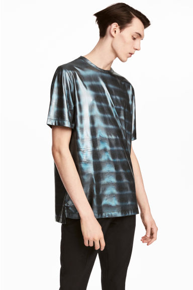 Coated T-shirt - Black/Metallic - Men | H&M 1