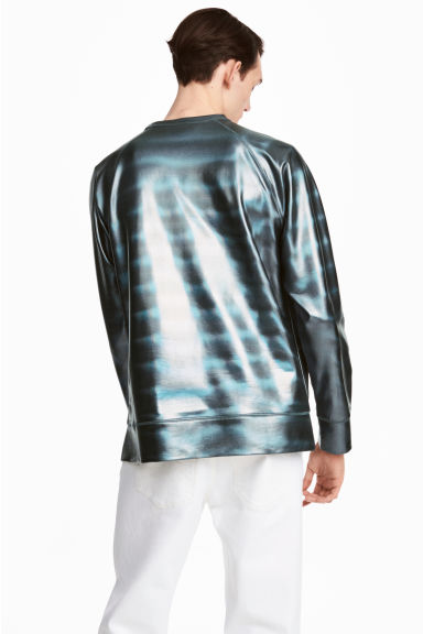 Sweater met coating - Zwart/metallic - HEREN | H&M BE 1