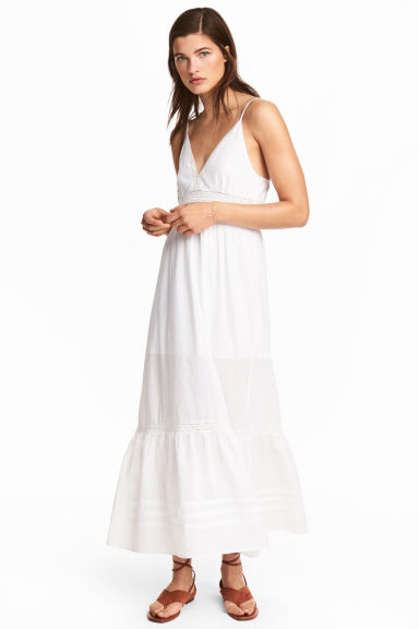 Long cotton dress - White - Ladies | H&M CN 1