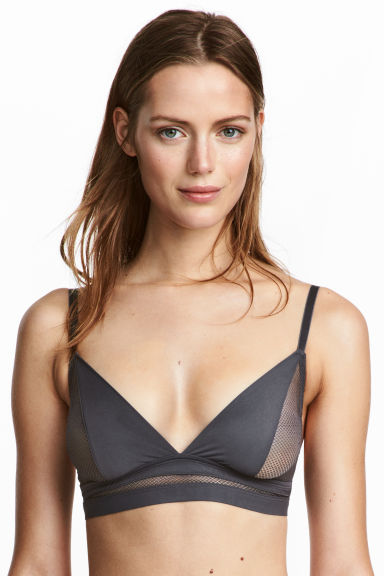 Non-wired microfibre bra - Dark grey - Ladies | H&M 1