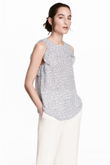 荷葉邊無袖上衣 - White/Spotted - Ladies | H&M 1