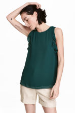 Sleeveless frilled top - Dark green - Ladies | H&M CA 1