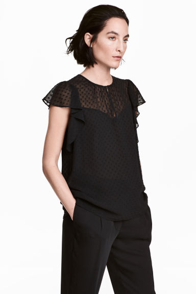Chiffon frill-sleeved blouse - Black - Ladies | H&M CN 1